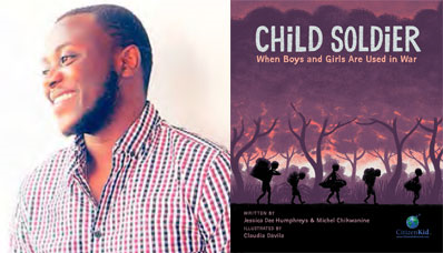 Author Michel Chikwanine and book cover of Child Soldier