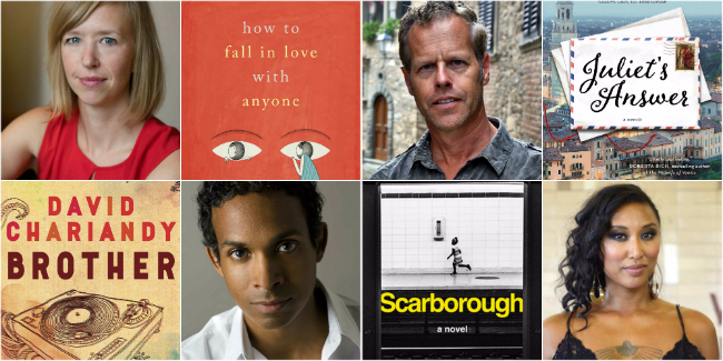 Top: author Mandy Len Catron; book cover - How to fall in Love with Anyone; author Glenn Dixon; book cover - Juliet's Answer. Bottom: Book cover - Brother; author David Chariandy; book cover - Scarborough; author Catherine Hernandez.