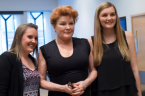 Fans pose with Kate Mulgrew at the Appel Salon