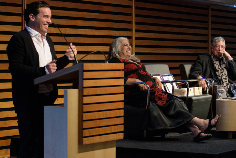 L to R: Award winning authors Joseph Boyden, Lee Maracle and Thomas King