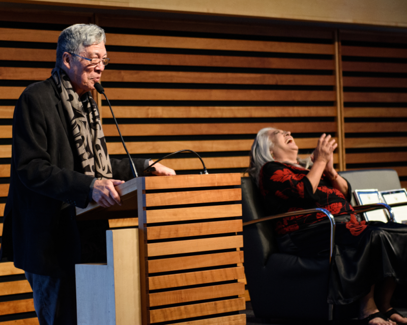 Thomas King and Lee Maracle on stage at the Appel Salon