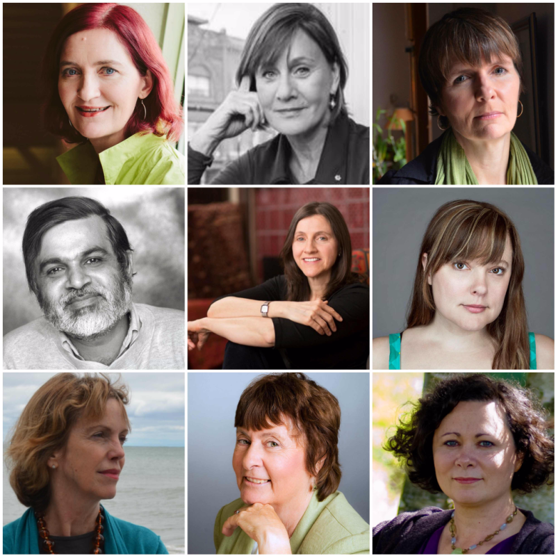 Left to right, top to bottom: Emma Donnoghue, Denise Donlon, Cordelia Strube, M. G. Vassanji, Kate Taylor, Zoe Whittall, Jane Urquhart, Maureen Jennings and Ami McKay